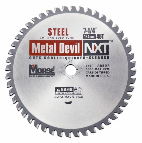 MK Morse CSM72548NSC Metal Devil NXT Circular Saw Blade, 7-1/4-Inch Diameter, 48 Teeth, 5/8-Inch Knock-out Arbor, for Steel Cutting