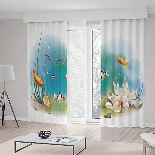 TecBillion Living Room Curtains,Aquarium,Living Room Bedroom Window Drapes,Hawaiian Pacific Fauna with Different Fishes Oceanic Plants and Seashells Decorative,70Wx98L - Drape Lr