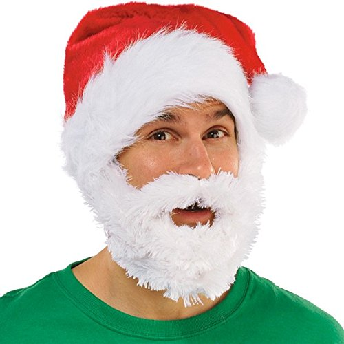 "Amscan Fun-Filled Christmas and Holiday Party Velour Santa Hat With Beard Plush, Red/White, 24"" x 12"""