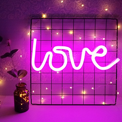 Decorative Neon Light Neon Signs Wall Decor led Night Light for Children's Birthday Room Decor Party Decoration (Pink Love) by xingfei