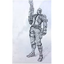 Soldier 76 Giclee Print of pencil drawing of Offense Class character from Overwatch video game