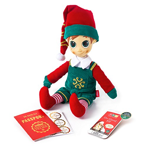 Portable North Pole Do-Good Elf Plush Toy Green with Personalized Video Messages from Santa