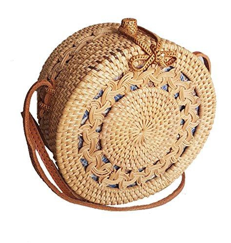 Rattan Honey (Rattan Nation - Handwoven Thick Classic Round Rattan Bag (Honey Brown))