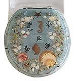 Daniel's Bath & Beyond Polyresin Round Seahorse Toilet Seat, 17'', Aqua