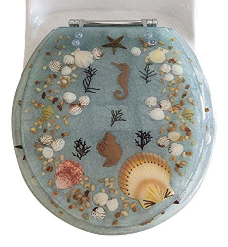 Daniel's Bath & Beyond Polyresin Round Seahorse Toilet Seat, 17'', Aqua by Daniel's Bath & Beyond