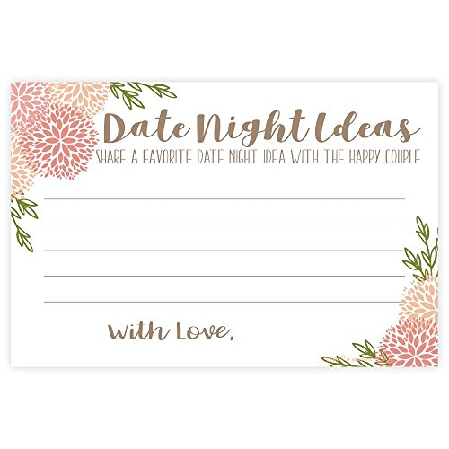 Coral Floral Date Night Ideas Cards (50 -
