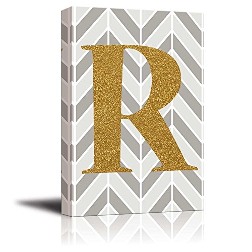 The Letter R in Gold Leaf Effect on Geometric Background Hip Young Art Decor
