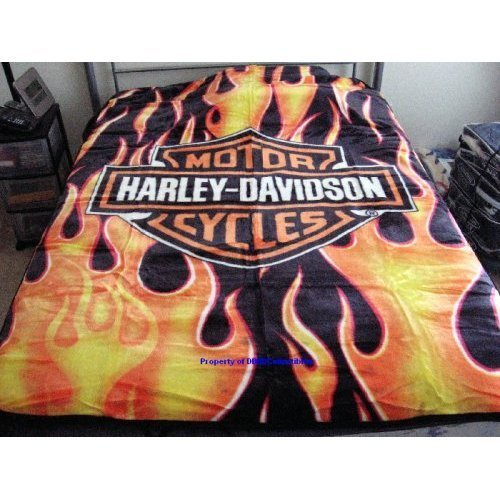 - Harley Davidson Fresh Royal Plush Throw Blanket, Measures 60 by 80 inches