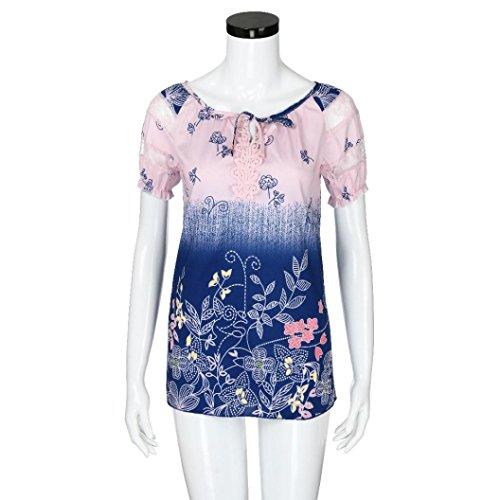 en en V ❤️Femmes à Dentelle Tefamore Shirt Imprimé courtes manches col Rose Tops dentelle Loose Blouse T pwwnCx