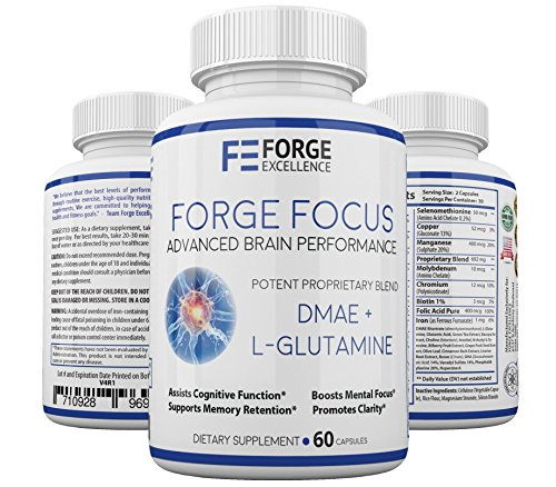 Forge Focus Advanced Brain Performance Supplement – Potent DMAE + L-Glutamine Dietary Supplement – Multivitamin & Mineral Rich Formula – Boosts Cognitive Function & Clarity – 60 Caps Review
