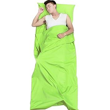 Algodón saco de dormir adulto viaje portátil saco de dormir Liner cómodo para Hostales Picnic aviones trenes, Sleeping bag liner Green: Amazon.es: Deportes ...