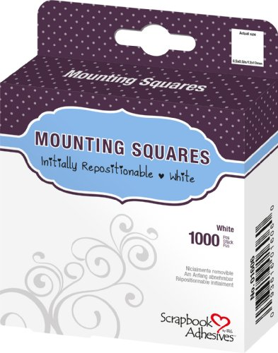3L Repositionable Permanent Mounting Squares, 1/2-Inch x 1/2-Inch, 1000pk, White - 1000 Top Tab