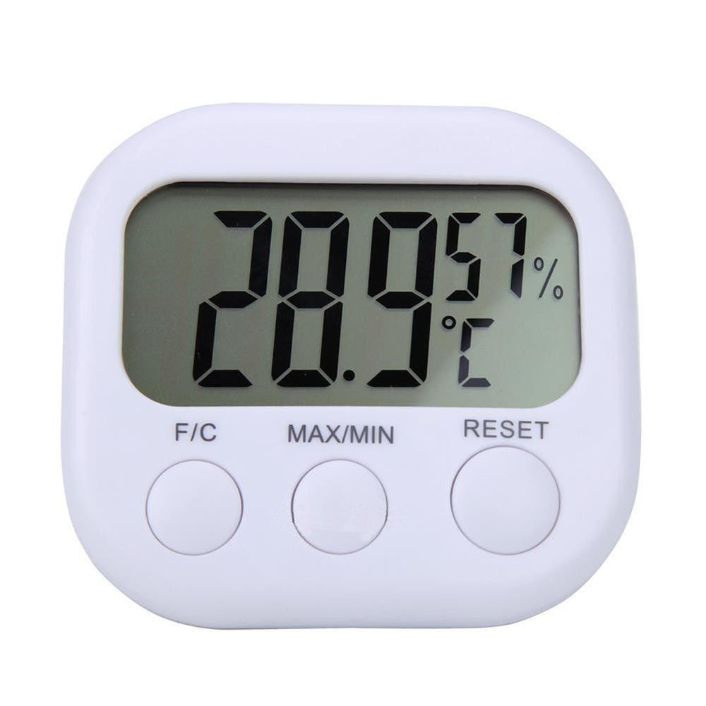 LCD Thermometer Hygrometer Mini Portable LCD Display Digital Temperature Humidity Meter Gauge for Home/Office/Baby Room (White)