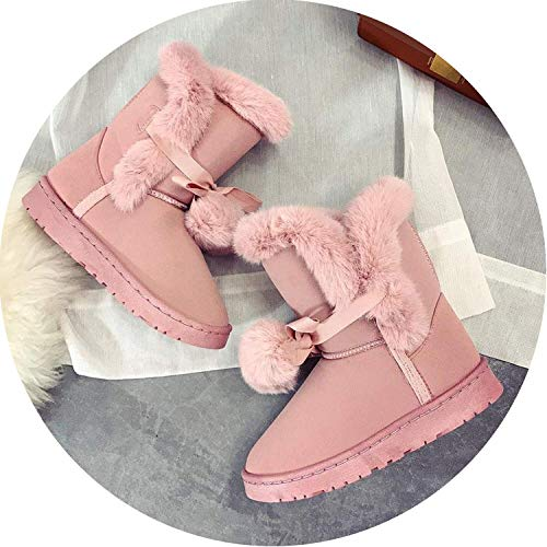 Nice Style Warm Fur Women Snow Boots Cute Suede Winter Fur Boots Female Fashion Boots Non-Slip Snow,7.5M,Pink36