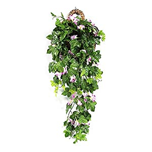 BELUPAID Artificial Vines Morning Glory Hanging Plants Silk Garland Fake Green Ivy Wall Hanging Home Garden Patio Fence Hanging Baskets Decoration 39