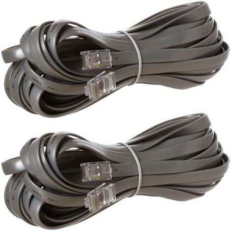2 Pack RJ45 Reverse for Voice Modular Cable 25 Feet Silver