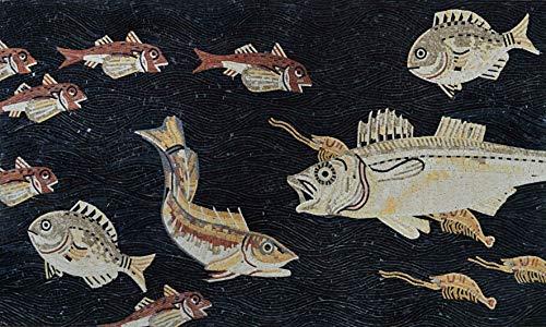 (Mozaico Roman Mosaic Fish Design Fully Handmade Tile Art. | Mosaic Designs | Mosaic Artwork | Mosaic Wall Art Handmade Mosaics | 39