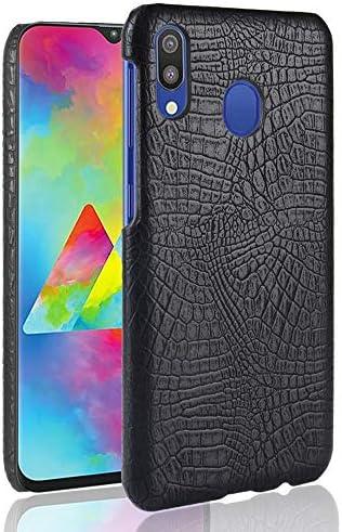あなたの携帯電話を保護する ギャラクシーA20のための耐震性のワニの質PC + PUの箱 (色 : ブラック)