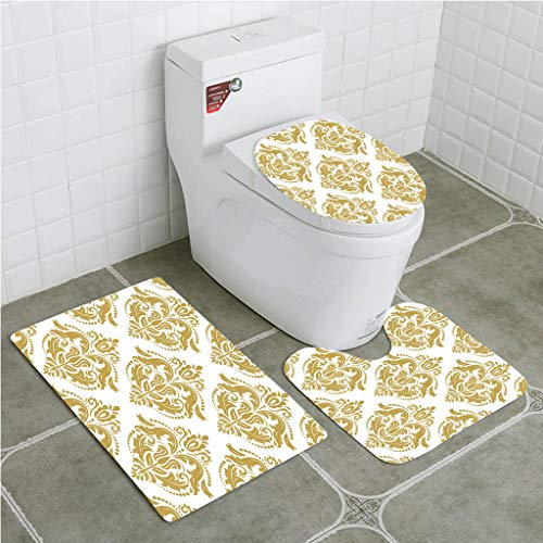 - Bathroom Mat Sets 4 Piece-Non-slip - short plush Gold and White Baroque Victorian Ancient Design Floral Swirls Dots for Classic Bathroom Rug + Contour pad + lid Toilet seat+Toilet seat cushion