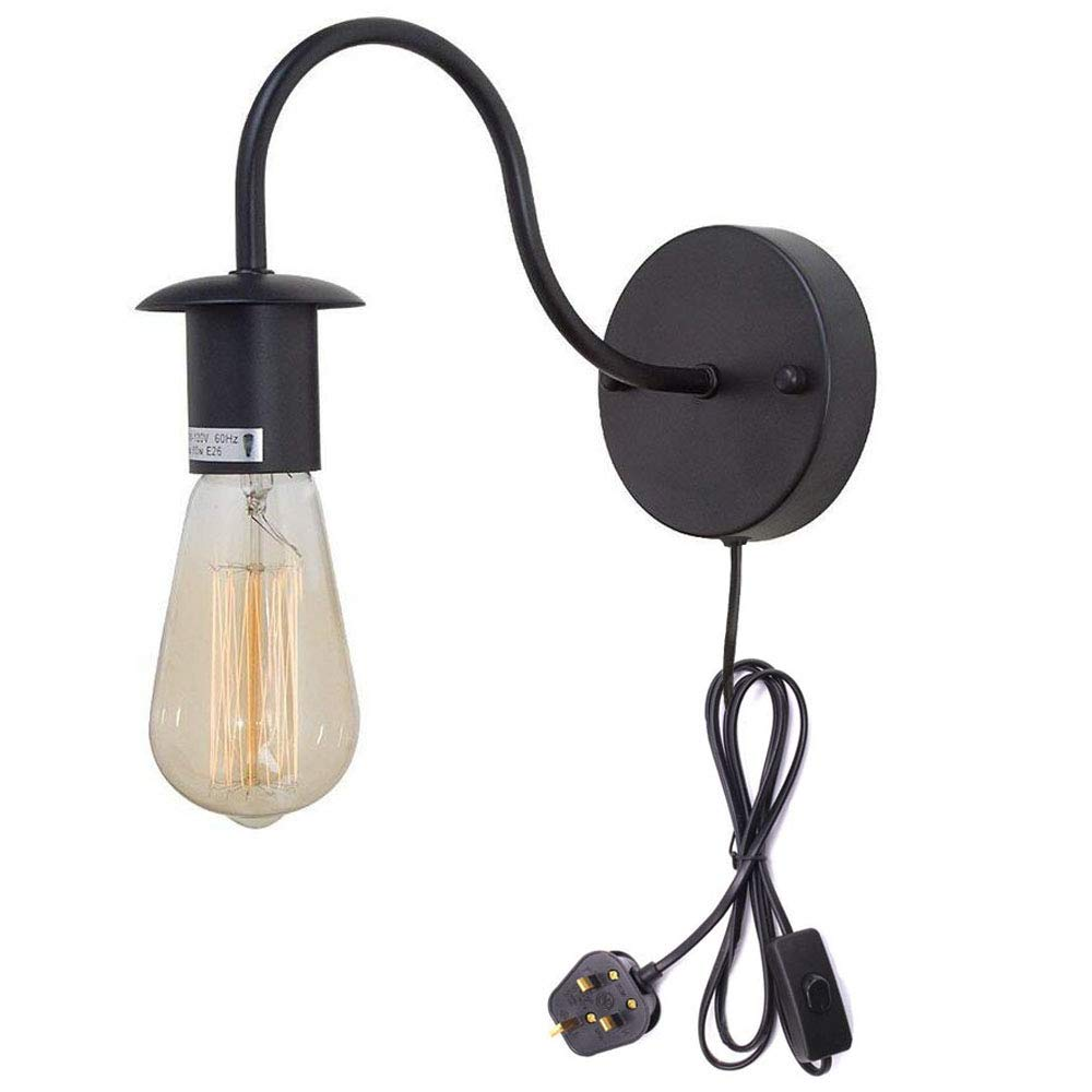 FSLIVING Minimalist Single Socket Vintage Industrial Loft Style 1-Light Wall Sconce E27 CE Certification Plug-In Button Switch Cord Lighting Black Bulb NOT Included