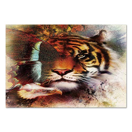 Funky Wall Mural Sticker [ Tiger,Various Symbols of Nature Large Bengal Cat Bald Eagle Butterfly on Vibrant Backdrop Decorative,Multicolor ] Self-Adhesive Vinyl Wallpaper/Removable Modern Decorating