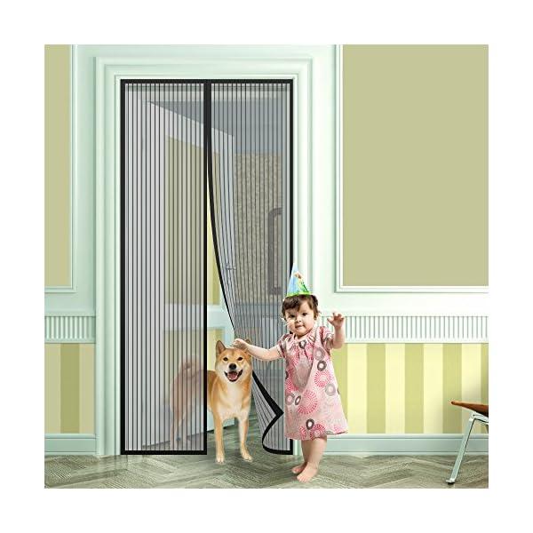 51QfRM8VbrL Anpro Fliegengitter Tür Moskitonetz Tür 90 x 212CM, Insektenschutz Magnet Vorhang Fliegenvorhang für Balkontür…