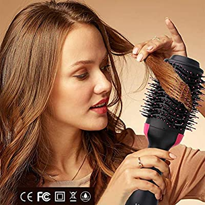 EVERMARKET One Step Hair Dryer & Volumizer, Hot Air Brush Negative Ion Generator Hair Straightener Curler Brush for All Hairstyle(1000W 110V)