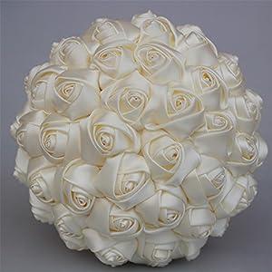 USIX Handcraft Solid Color Popular Satin Rose Bridal Holding Wedding Bouquet Wedding Flower Arrangements Bridesmaid Bouquet(Ivory) 58