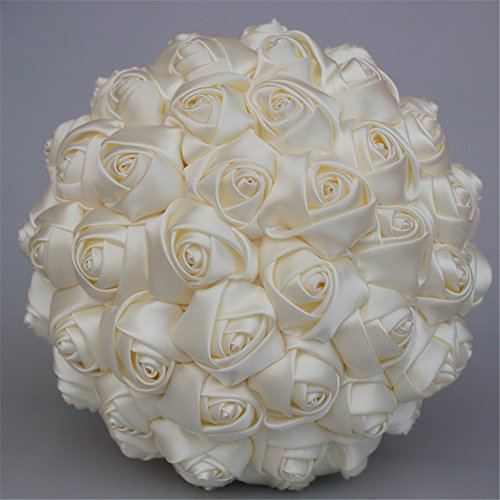 USIX Handcraft Solid Color Popular Satin Rose Bridal Holding Wedding Bouquet Wedding Flower Arrangements Bridesmaid Bouquet(Ivory) ()