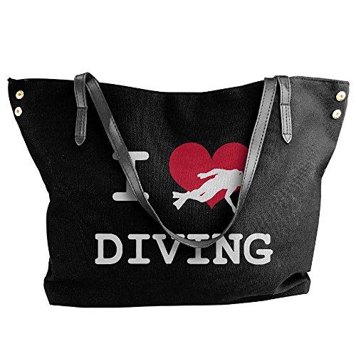 Love Diving Hand Shoulder Tote Black Bag I Handbag Canvas Women's Large 7q80Ytg