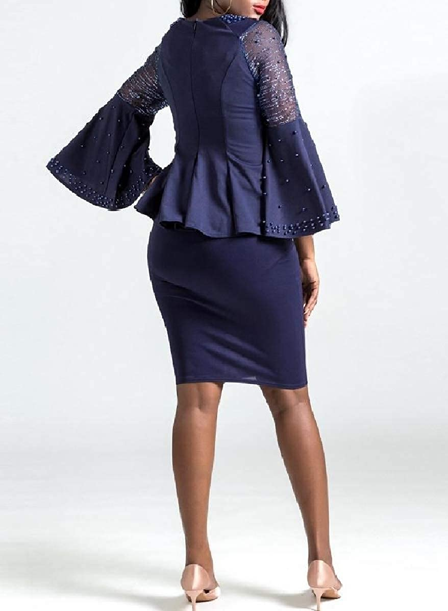 Comaba Women Ruffle Trumpet Sleeve Cocktail Party Formal Skirt Suits