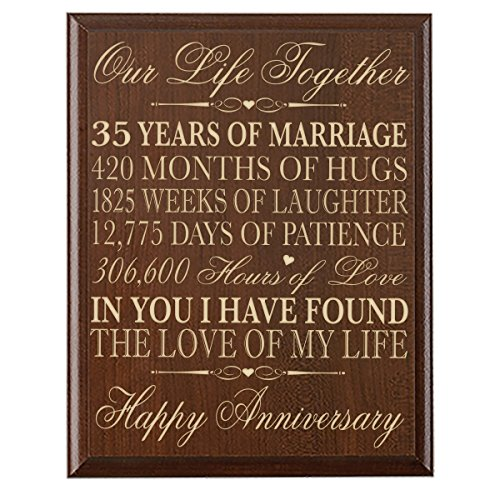 LifeSong Milestones 35th Wedding Anniversary Wall Plaque Gifts for Couple,Custom Made 35th for Her,35th Wedding for Him Special Dates to Remember (Cherry) ()