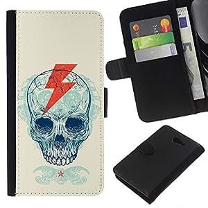 KLONGSHOP // Tirón de la caja Cartera de cuero con ranuras para tarjetas - Cráneo Rayo Cresta Patrón - Sony Xperia M2 //