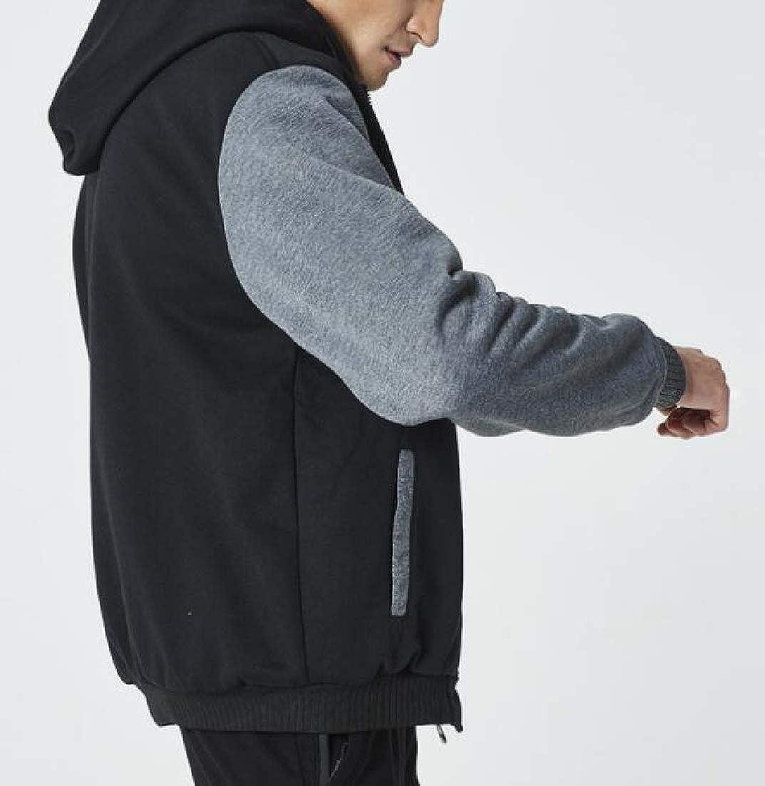 ainr Mens Zipper Up Hoodies Fleece Lined Contrast Colors Winter Coat Sweatshirts