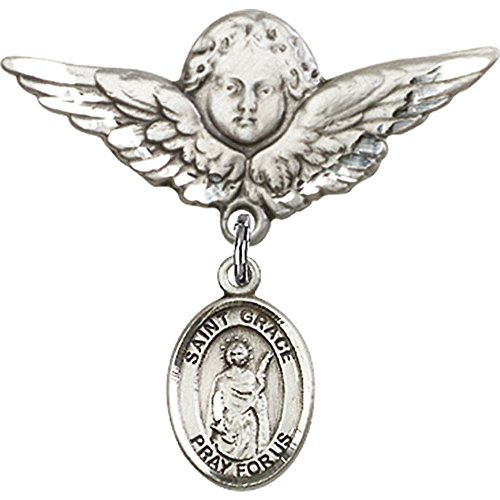 Sterling Silver Baby Badge with St. Grace Charm and Angel w/Wings Badge Pin 1 1/8 X 1 1/8 inches by Unknown