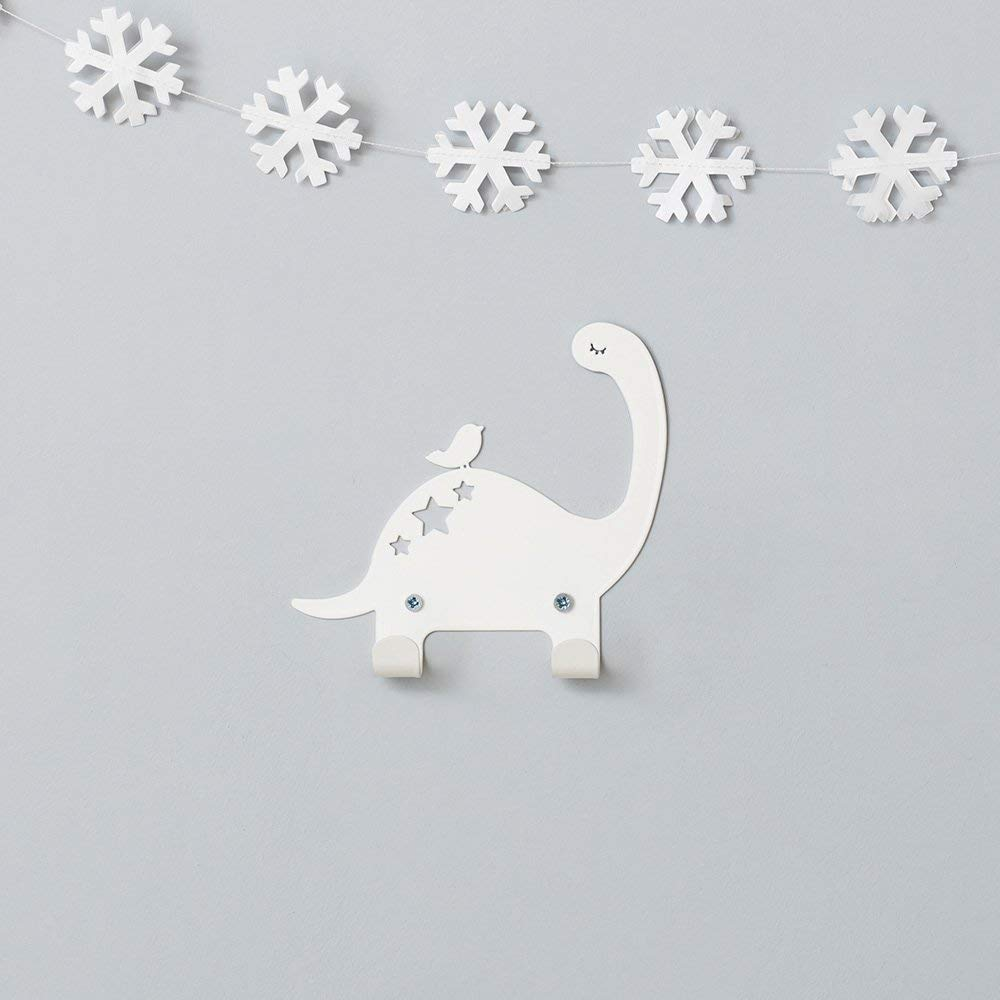 Designer Metal Wall Hanger, Dinosaur & Bird Wall Hook - With 2 Hooks, White