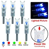 Lighted Nocks for Crossbow Automatically Bow String Activated Arrow Nocks 6 Pack(Blue)