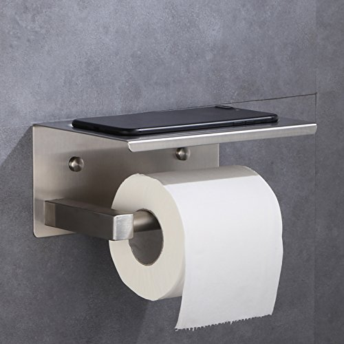 XVL Toilet tissue paper holder with mobile phone storage shelf, Brushed Finish, G319A