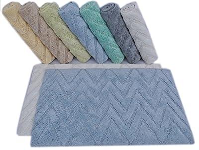 LOOP CHEVRON Bath Rugs Size 21 x 34 / 17 x 24 Non Skid High Absorbency & Durable Machine washable Bath Mat