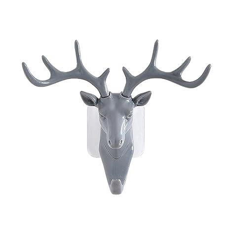 winomo Vintage Cabeza de ciervo Cuerno de pared ganchos para Distressed Ropa sombrero bufanda Llave Deer Cuernos perchas Rack pared decoración