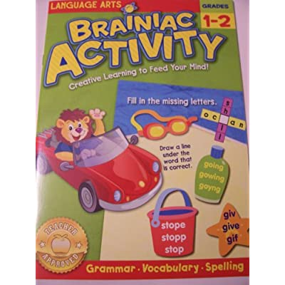 Brainiac Educational Activity Books for Kids ~ Language Arts (Grammar, Vocabulary, Spelling; Grades 1-2): Toys & Games