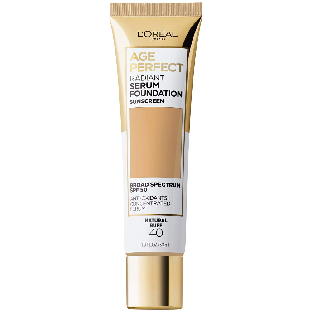 L'Oreal Paris Age Perfect Radiant Serum Foundation with SPF 50, Natural Buff, 1 Ounce