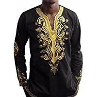 Blouse Mens,kaifongfu Hipster Hip Hop African Dashiki Graphic Long Sleeve Top Shirts