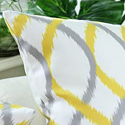 Pack of 2 CaliTime Cushion Covers Throw Pillow Cases Shells, Modern Two-tone Waves Geometric, 18 X 18 Inches, Gray Yellow