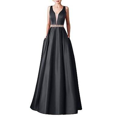 208c9d1e144c9 Connoworld Formal Dress  Elegant Women V Neck Open Back Sleeveless Satin  Formal Prom Long Evening