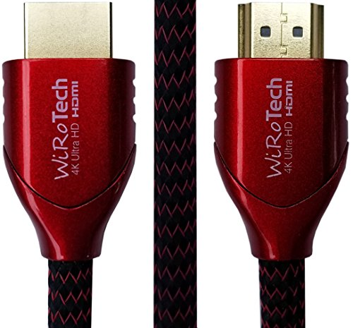 WiRoTech HDMI Cable 4K Ultra HD with Braided Cable, HDMI 2.0 18Gbps, Supports 4K 60Hz, Chroma 4 4 4, Dolby Vision, HDR10, ARC, HDCP2.2 (10 Feet, Red)