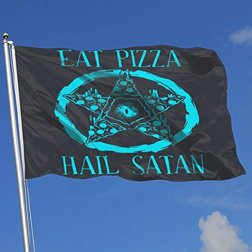 TAOHJS76 Custom Outdoor/Indoor Decorative Flag Eat Pizza Hail Satan 100% Polyester Single Layer Translucent Flags 3 X 5]()