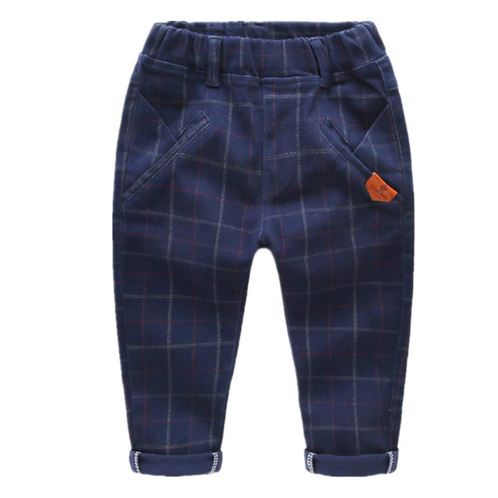 Beide Boys Cotton Vintage Plaid Pants Elastic Waist Trousers (5T)