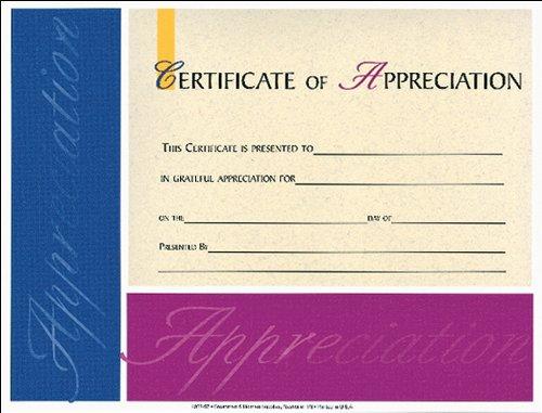 Appreciation Church Certificates - Certificate of Appreciation 6pk