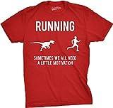 Mens Running Motivation Raptor Chase T Shirt Funny Dinosaur Tee for Guys (Red) - S